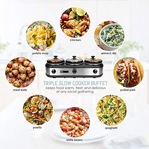 Maxi-Matic Elite Platinum EWMST-612 Triple Slow Cooker Buffet
