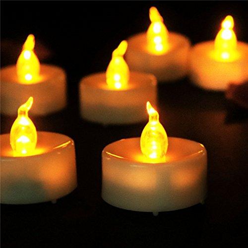 SANNOVO Flickering Amber Warm Tealight 12 Pcs Battery Powered Flameless Candles Halloween Christmas Decoration