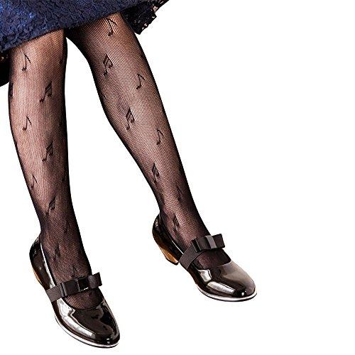 Girls Mesh Fishnet Lace Stocking Legging Tight Musical Notes Pattern Black White (1 pack Black, XL height 55