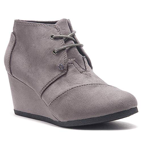 (Herstyle Corlina Women's Fashion Casual Outdoor Low Wedge Heel Booties Shoes Lace up Close Toe Ankle Boots Grey 11.0)