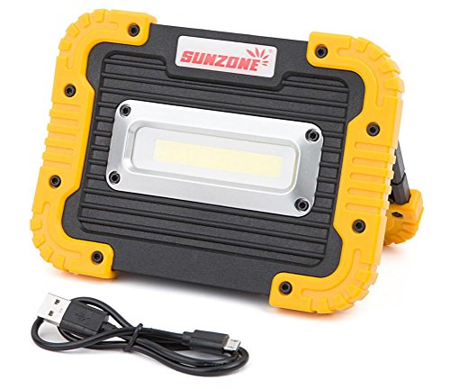 Cordless 30 Led Work Light (SUNZONE Portable LED COB Work Light,Outdoor Waterproof Flood Lights, for Camping,Hiking,Car Repairing,Workshop,Construction Site,Builtin Rechargeable Battery Power Bank and SOS Emergency Mode(Yellow))