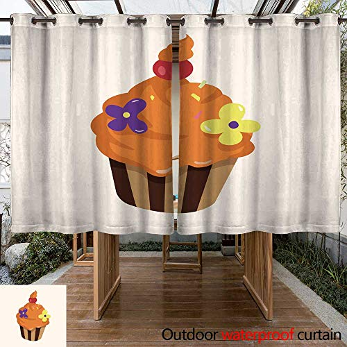RenteriaDecor Outdoor Curtain for Patio Decorating Cake Theme Elements Vector eps W63 x L72