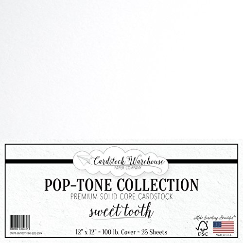 Sweet Tooth White Cardstock Paper - 12 x 12 inch 100 lb. Heavyweight Cover - 25 Sheets from Cardstock Warehouse
