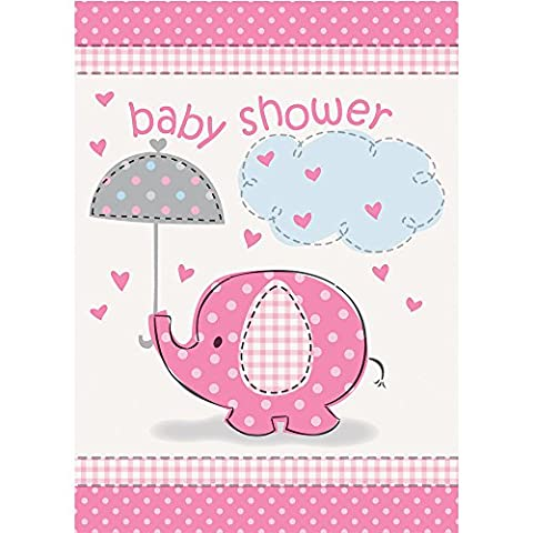 Pink Elephant Girl Baby Shower Invitations,