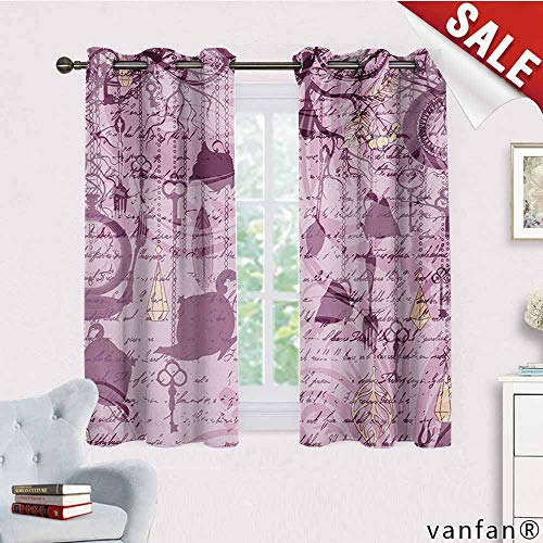(Big datastore Unique Customize Home Decorator Window Curtain,Tea Party,Grungy Hanging Tea Cups Clocks and Cutlery Hand Writing Calligraphy,Blackout 100% Polyesterdried Rose Pink Yellow,W63 Xl45)