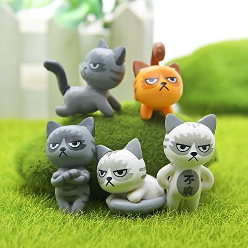 Qiyun 6pcs Grumpy Cat Plant Accessories Micro Cottage Landscape Ornaments Potted Decoration