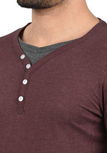 8985 solid De Melange Corta Grandad shirt Dorian Wine Para Básica Red Camiseta Cuello T Hombre Con Manga awC1xarqg