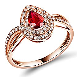 Vintage Natural Red Ruby Diamond Ring
