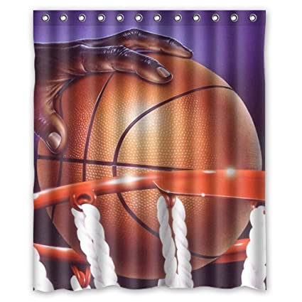 Amazon Eco Friendly Waterproof Shower Curtain Basketball I Love