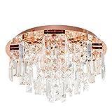 Modern Silver Polished Chrome 5 Way Lead Crystal Jewel Diamond Effect Droplet Flush Ceiling Chandelier F