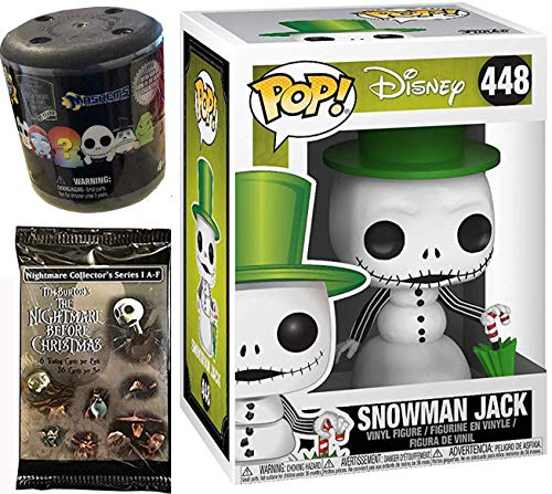 Green Hat Figure Nightmare Before Christmas Snowman Jack Pop! NBC Vinyl #448 Bundled with + Fash EMS Soft Mini Blind Character Trick-Or-Treat Halloweentown Movie Trading Cards Pack 3 Items ()
