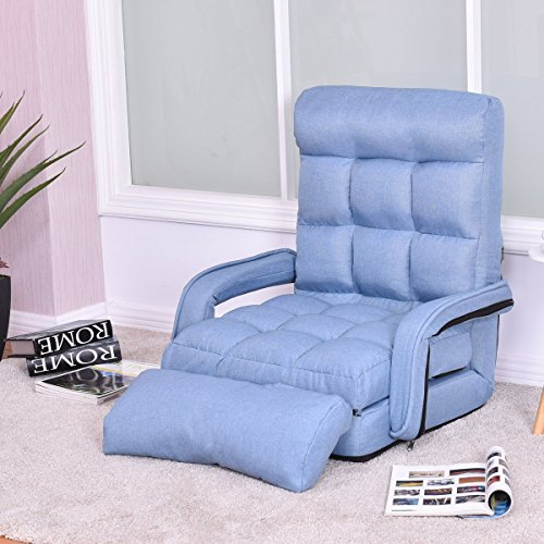 Bed Arm Sofa (Giantex Folding Lazy Sofa Floor Chair Sofa Lounger Bed with Armrests and a Pillow Lounger Bed Chaise Couch (Blue))