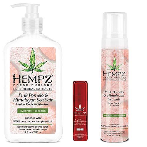 Hempz Body Gift Set - Hempz Pink Pomelo & Himalayan Sea Salt Herbal Body Moisturizer, Wash & Limited Edition Lip Balm Trio Set