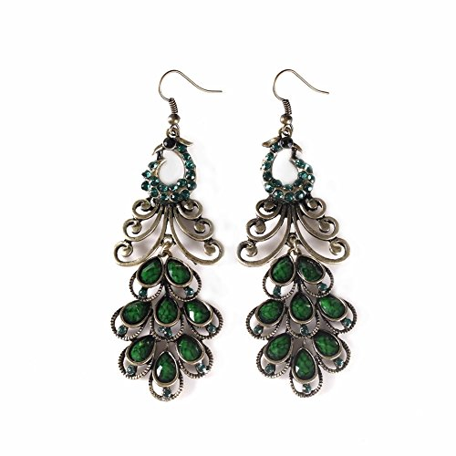 orful Stoned Earrings   Peacock's Pride - Green ()