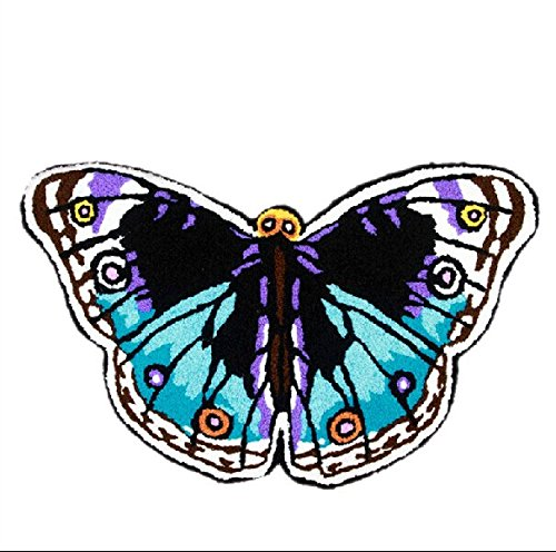 YOYOMALL Butterfly Bathroom Rug Hand-embroidered Floor Mats Personalized Custom Carpets Butterfly Imprint Anti-slip Rugs (blue)