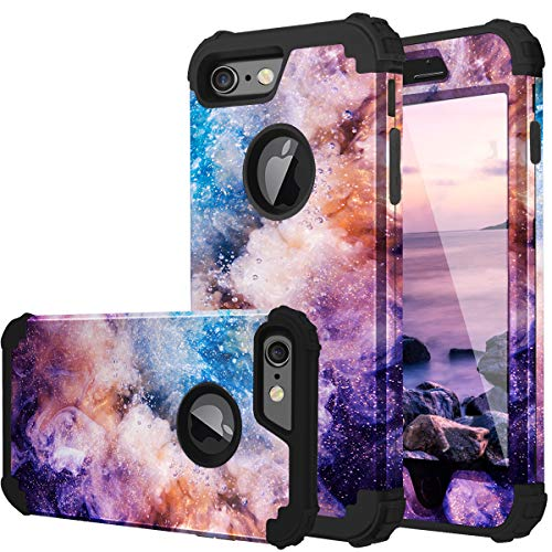 Fingic iPhone 6S Case, iPhone 6 Case 3 in 1 Heavy Duty Protection Hybrid Hard PC & Soft Silicone Rugged Bumper Anti Slip Full-Body Shockproof Protective Case for Apple iPhone 6 / 6s - Nebula Black (Colorful Iphone 6plus Cases)