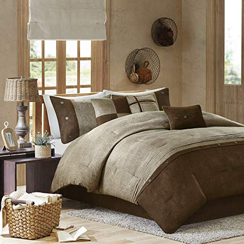 Madison Park Boone 7 Piece Faux Suede Comforter Set Brown Queen (Renewed)