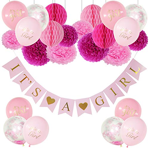 (Baby Shower Decorations for Girl, Girl Baby Shower Decorations, It's a Girl Banner, Baby Shower Party, Paper Pom Poms, Honeycomb Balls, Baby Shower Balloons It's a Girl, Pink Confetti Balloons.)