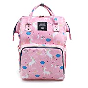 Waterproof Diaper Bag Backpack Multi-Function Large Capacity Travel Backpack Nappy Bags for Baby with Unicorn Cloud Star Pattern (Pink)