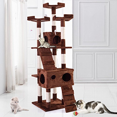67″ Cat Tree Furniture Scratching Tower Condo Post Pet Kitty Playhouse Coffee
