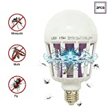 DarNio Mosquito Bug Zapper Light Bulb, E26/E27 Electronic Insect Killer Lamp, Built in Mosquito Trap for Indoor Porch Patio, Fit in 110V Light Bulb Socket 2PCS