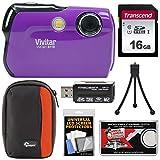 Vivitar ViviCam 8119 Digital Camera (Purple) with 16GB Card + Case + Reader + Tripod + Kit