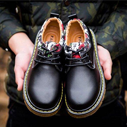 Men's Shoes Feifei Spring and Autumn Leisure Retro Thick Bottom Leather Shoes 3 Colors (Color : Black, Size : EU40/UK7/CN41)
