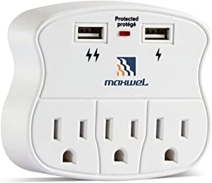 Multiple Outlet Wall Plug Expander - Surge Protector 490 Joules Outlet Extender 3 Plug Outlet with 2 USB Charger Ports Wall Mount Adapters ETL Certified for Home/School/Office Use