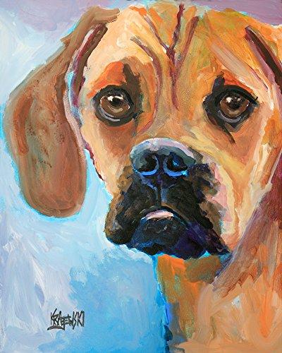 (Puggle Dog Fine Art Print on 100% Cotton Watercolor Paper )