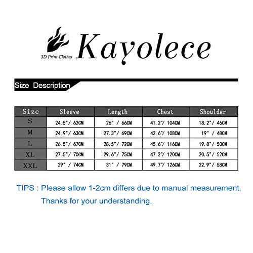Kayolece Mens Womens Hoodies 3D Unisex Printed Cool Graphic Pullover Hooded Sweatshirts with Big Pockets