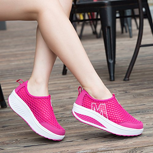 Mljsh Womens Maille Slip-on Plateforme Chaussures De Remise En Forme Work Out Sneaker Rose Rouge