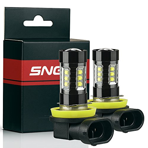 SNGL H16 Type 2 Super Bright CREE LED DRL Fog Light bulbs - Plug-and-Play - 6000K Cool White (Pack of 2)