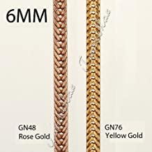 6MM necklace 18K Rose/ yellow gold Filled necklace FOXTAIL Franco Flat Box Cuban Curb Necklace Chain about 24inch GNM01