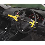 STRONG YELLOW DOUBLE HOOK CAR STEERING WHEEL ANTI THEFT SECURITY LOCK/BRACE