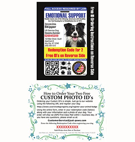 Emotional Support Dog Badge & Leather Wallet with 2 Custom Photo ID's & Registration on US Service Dog Registry by Just 4 Paws (Image #3)