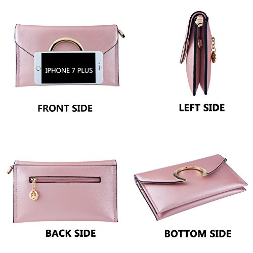 Bag PU Wedding Envelope Women's Clutches Bagood Purses Evening Leather Pink for Bags Handbag Party Shoulder qwv7StZ