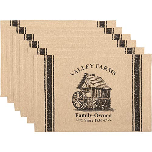 Farm Placemat - VHC Brands Valley Farms Mill Farmhouse Placemat (Set of 6) 12x18