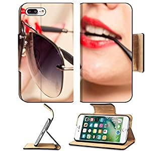 Luxlady Premium Apple iPhone 7 Plus Flip Pu Leather Wallet Case iPhone7 Plus 43583300 Sunglasses in the teeth