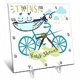3dRose RinaPiro - Kids - Twins. Boys. Baby shower. Announcement. Cute picture. - 6x6 Desk Clock (dc_261339_1)