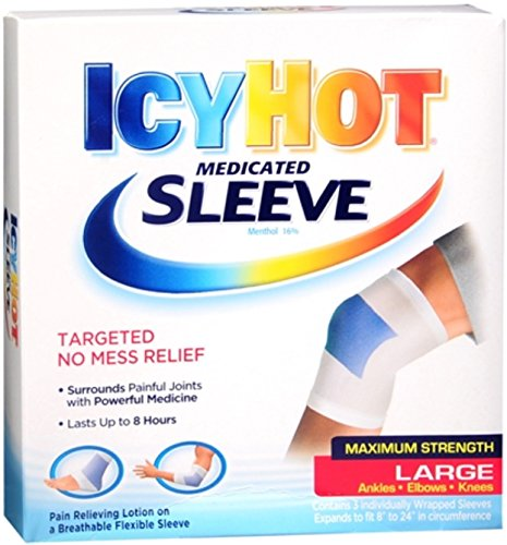 ICY HOT Medicated Sleeve Large (Ankles, Elbows and Knees) 3 Each (Pack of 6) (Icy Hot Sleeve)