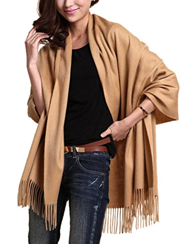 "Novawo Extra Large 78""x27"" Soft Cashmere Scarf Shawl Wrap for Men Women (Tan)"