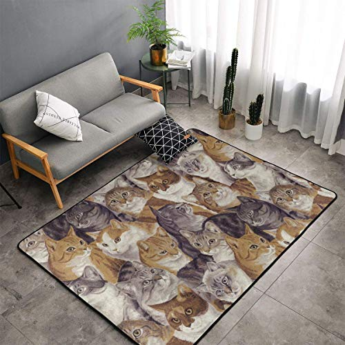 LIN. Packed Cats Kitchen Rugs Memory Foam Floor Pad Rugs with Non Skid Rubber Backing, Quick Dry Bath Mat Shaggy Rugs Home Art Premium Standing Mat - 60 x 39 Inch]()