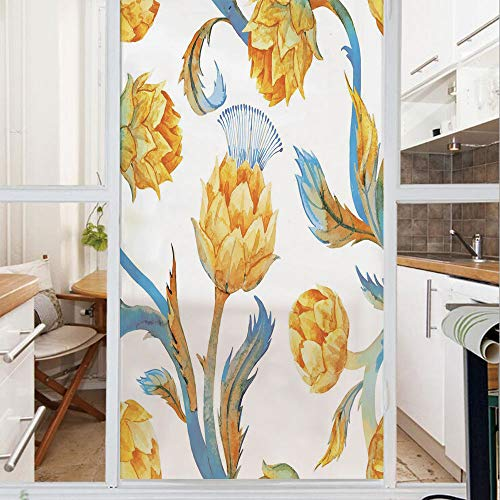 Decorative Window Film,No Glue Frosted Privacy Film,Stained Glass Door Film,Abstract Colored Vegetables in Art Nouveau Watercolored Design Decorative,for Home & Office,23.6In. by 35.4In Sky Blue and E