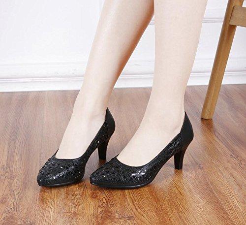 AJUNR-Zapatos De Mujer De Moda Antiguo Beijing Zapatos De Tela Negra High-Heeled Trabajo Profesional El Viaje Al Trabajo Es El Calzado Mujer Elegante Y Brillante Taladro Zapatos De Mujer black