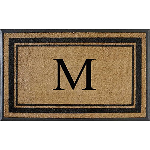 First Impressions Markham Border Double Door, Doormat, Monogrammed M, - Collection Mat Door