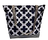 TravelNut Reusable Grocery Shopping Bags Gray Black Quatrefoil Design Top New Unique Cool Birthday Easter Basket Filler Gift Idea Her Women Girlfriend Mom Mother in Law Sister BAE Aunt