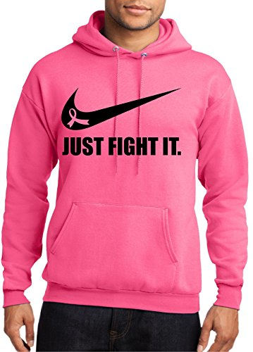 Breast Cancer Awareness 'Just Fight It ribbon.' Neon Pink Hoodie by MYOS