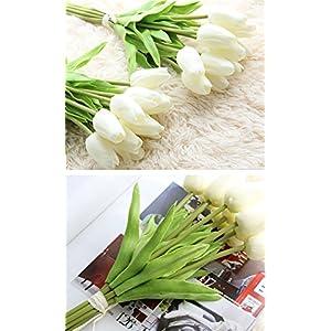 Freedi 10Pcs Artificial Tulips Silk Flowers Wedding Bridal Bouquet Party Home Outdoor Decor Bulk 3
