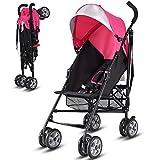 Costzon Lightweight Stroller, Baby Umbrella Convenience Stroller, Travel Foldable Design with Sun Canopy/5-Point Harness/Storage Basket (Pink)