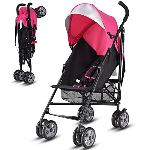 Costzon Lightweight Stroller, Baby Umbrella Convenience Stroller, Travel Foldable Design with Sun Canopy/5-Point Harness/Storage Basket (Pink) by Costzon